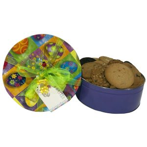 Easter Cookies-18 cookies (6 flavors), fill this tin pail with an Easter Bunny and colorful eggs motif.