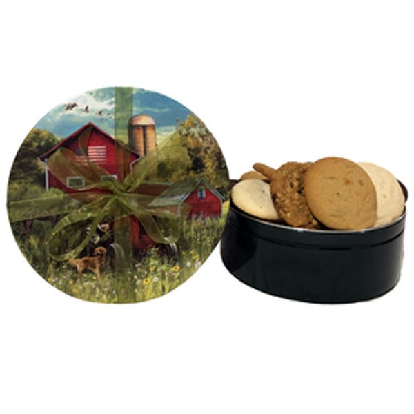 Men Cookie Gifts-18 cookies (6 flavors), fill this tin adorned with a country scene