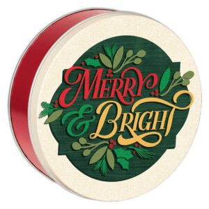 Cheerful Merry and Bright Cookie tin filled with 2 1/2 dozen fresh baked cookies