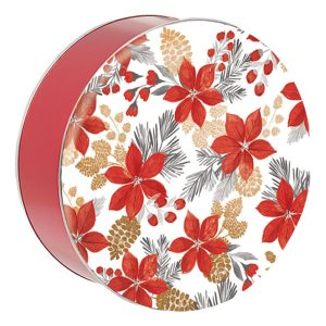 Poinsettia Pretty Cookie Tin-with 18 cookies