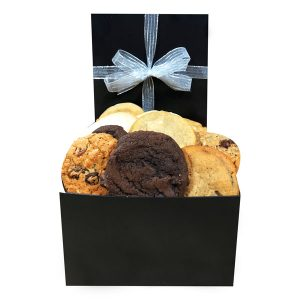 One and a half dozen cookies in a black gift box